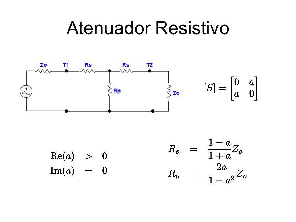 Acoplador de Dois Pontos Acoplamento Fraco: C > 10 dB