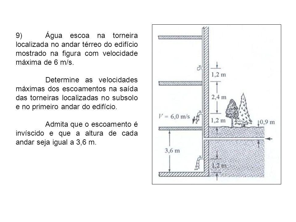 9)Água escoa na torneira localizada no andar térreo do edifício mostrado na figura com velocidade máxima de 6 m/s. Determine as velocidades máximas do