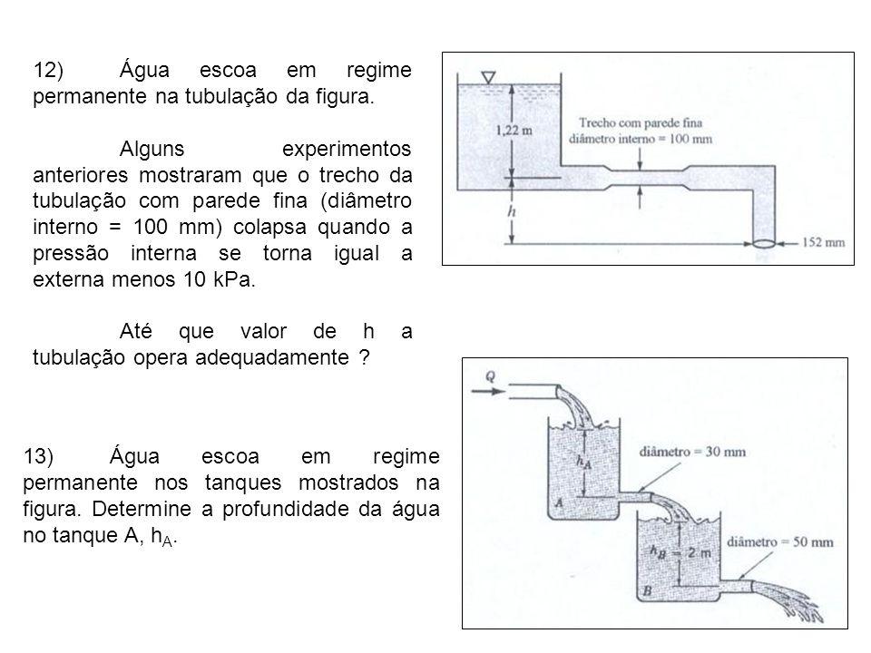 12)Água escoa em regime permanente na tubulação da figura. Alguns experimentos anteriores mostraram que o trecho da tubulação com parede fina (diâmetr
