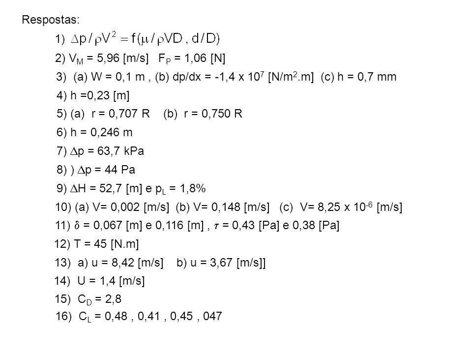 Respostas: 1) 2) V M = 5,96 [m/s] F P = 1,06 [N] 3) (a) W = 0,1 m, (b) dp/dx = -1,4 x 10 7 [N/m 2.m] (c) h = 0,7 mm 4) h =0,23 [m] 5) (a) r = 0,707 R