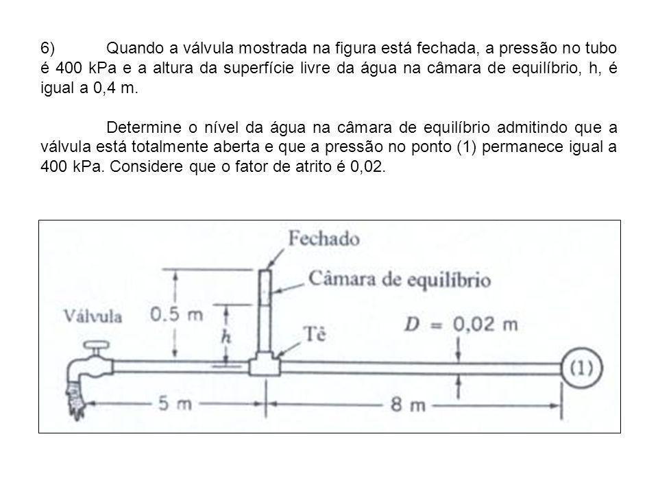 6)Quando a válvula mostrada na figura está fechada, a pressão no tubo é 400 kPa e a altura da superfície livre da água na câmara de equilíbrio, h, é i
