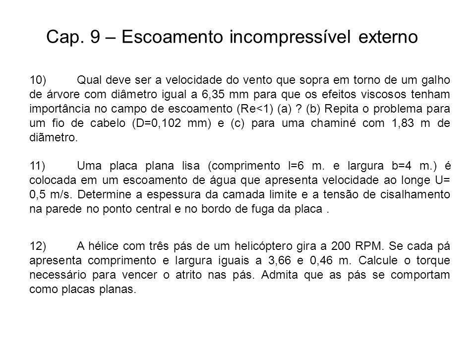 Cap. 9 – Escoamento incompressível externo 10)Qual deve ser a velocidade do vento que sopra em torno de um galho de árvore com diâmetro igual a 6,35 m