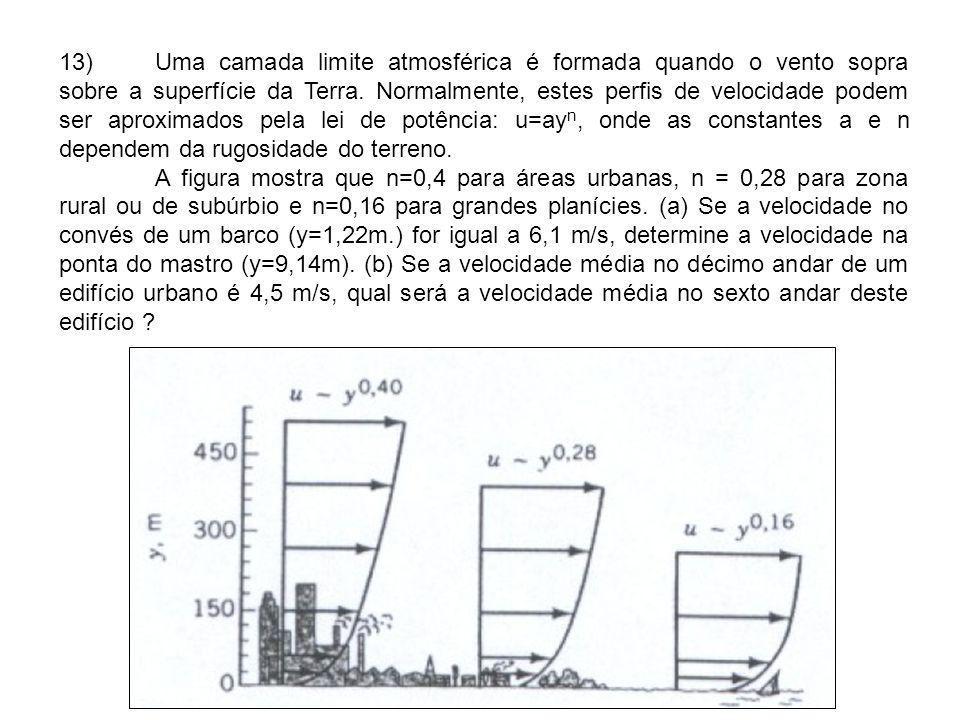 13)Uma camada limite atmosférica é formada quando o vento sopra sobre a superfície da Terra. Normalmente, estes perfis de velocidade podem ser aproxim
