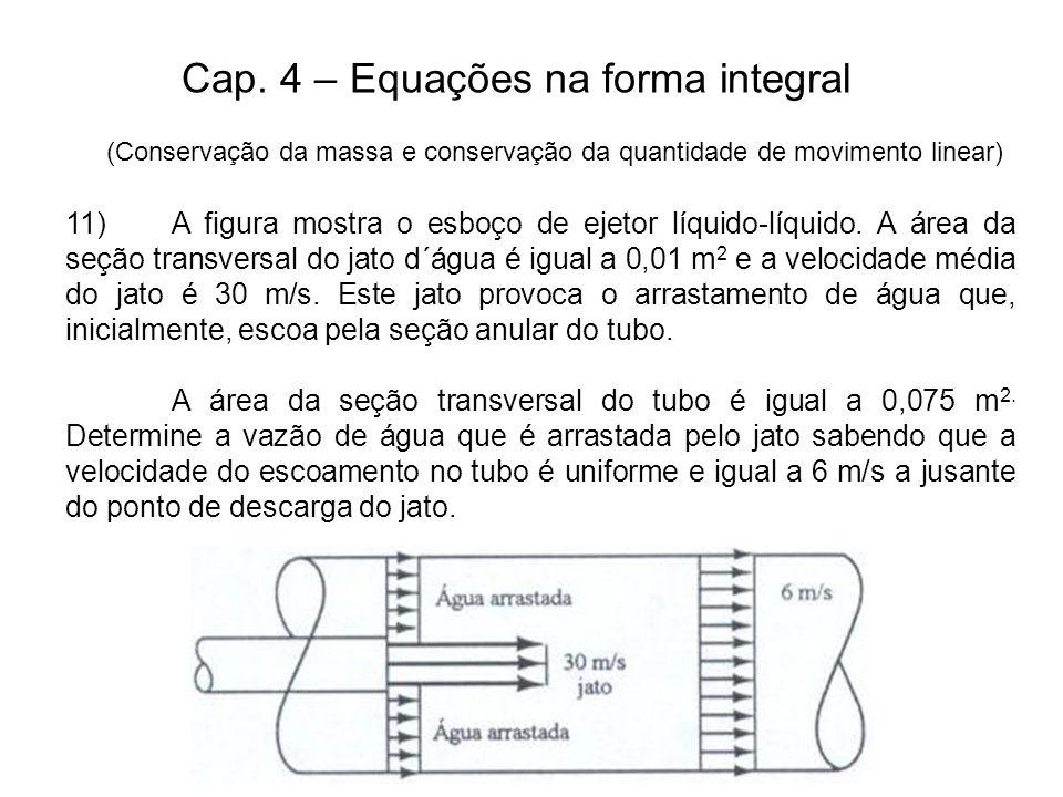 Cap.4 – Equações na forma integral 11)A figura mostra o esboço de ejetor líquido-líquido.