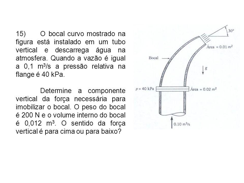15)O bocal curvo mostrado na figura está instalado em um tubo vertical e descarrega água na atmosfera.
