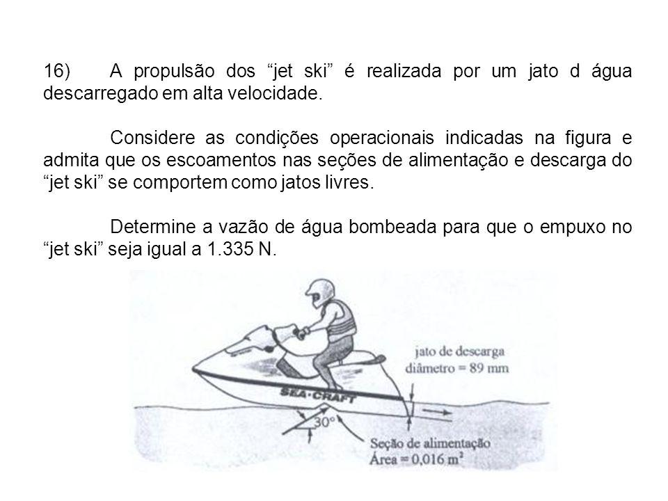 16)A propulsão dos jet ski é realizada por um jato d água descarregado em alta velocidade.