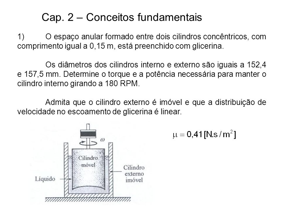 Cap. 2 – Conceitos fundamentais 1)O espaço anular formado entre dois cilindros concêntricos, com comprimento igual a 0,15 m, está preenchido com glice