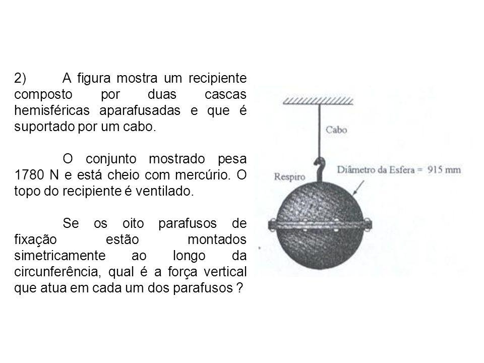14)Um jato d água, com diâmetro igual a 10 mm, incide sobre um bloco que pesa 6 N no modo indicado na figura.