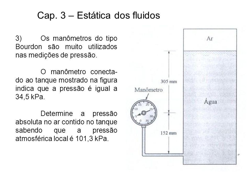 Cap. 3 – Estática dos fluidos 3)Os manômetros do tipo Bourdon são muito utilizados nas medições de pressão. O manômetro conecta- do ao tanque mostrado