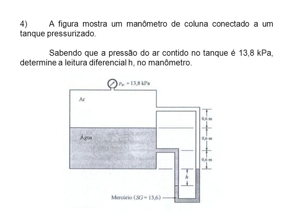 4)A figura mostra um manômetro de coluna conectado a um tanque pressurizado.