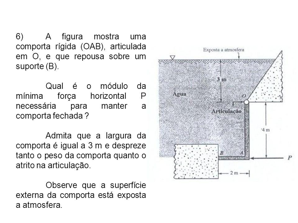 7)A estrutura em L mostrada na figura apresenta largura de 1,22 m e pode girar livremente em torno da articulação O indicada.