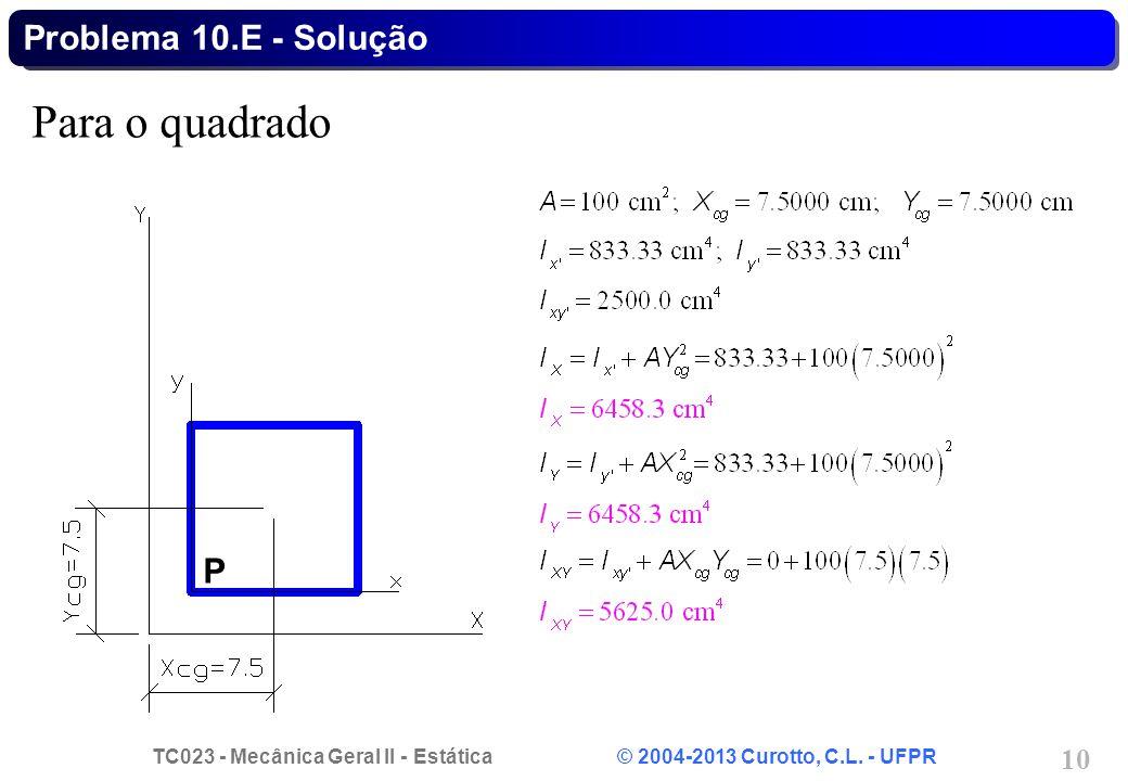 TC023 - Mecânica Geral II - Estática © 2004-2013 Curotto, C.L. - UFPR 10 Para o quadrado Problema 10.E - Solução P