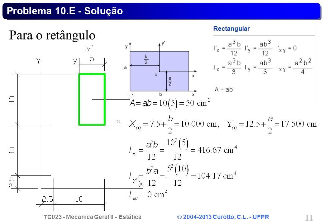 TC023 - Mecânica Geral II - Estática © 2004-2013 Curotto, C.L. - UFPR 11 Para o retângulo Problema 10.E - Solução
