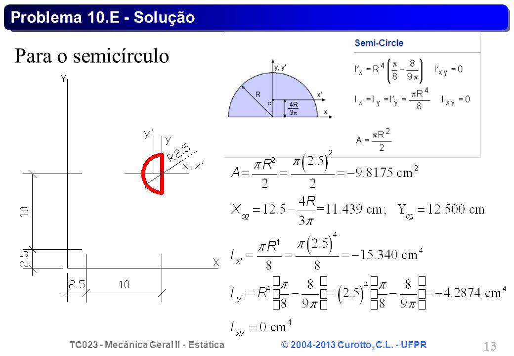 TC023 - Mecânica Geral II - Estática © 2004-2013 Curotto, C.L. - UFPR 13 Para o semicírculo Problema 10.E - Solução