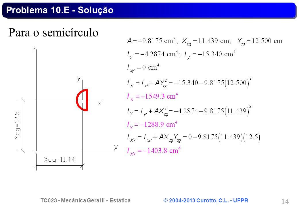 TC023 - Mecânica Geral II - Estática © 2004-2013 Curotto, C.L. - UFPR 14 Para o semicírculo Problema 10.E - Solução