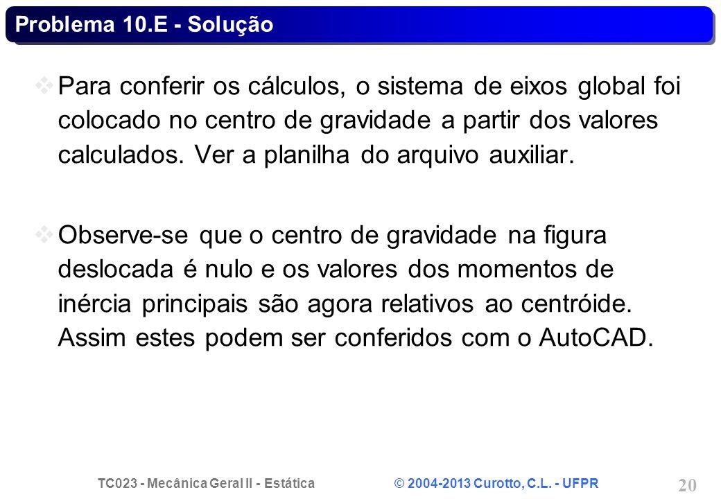 TC023 - Mecânica Geral II - Estática © 2004-2013 Curotto, C.L. - UFPR 20 Problema 10.E - Solução Para conferir os cálculos, o sistema de eixos global