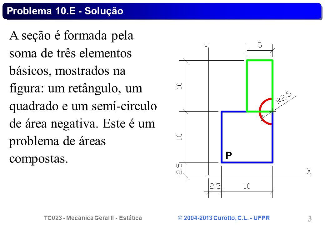 TC023 - Mecânica Geral II - Estática © 2004-2013 Curotto, C.L. - UFPR 3 A seção é formada pela soma de três elementos básicos, mostrados na figura: um