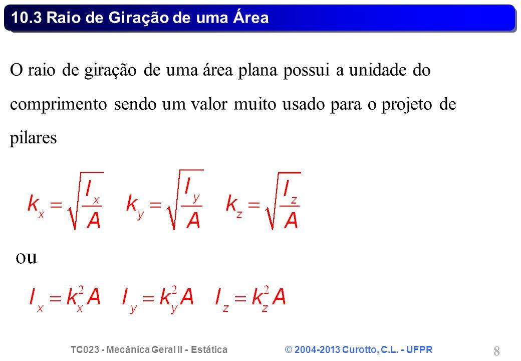 TC023 - Mecânica Geral II - Estática © 2004-2013 Curotto, C.L. - UFPR 8 O raio de giração de uma área plana possui a unidade do comprimento sendo um v