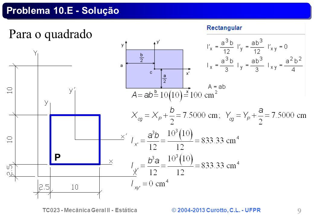 TC023 - Mecânica Geral II - Estática © 2004-2013 Curotto, C.L. - UFPR 9 Para o quadrado Problema 10.E - Solução P