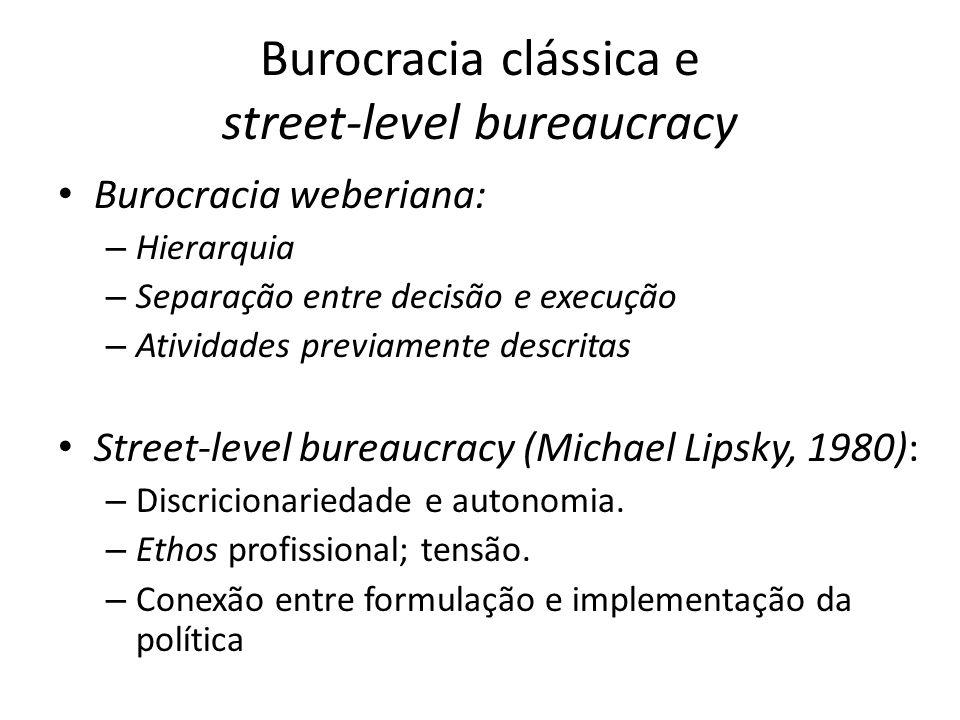 Burocracia clássica e street-level bureaucracy Burocracia weberiana: – Hierarquia – Separação entre decisão e execução – Atividades previamente descri