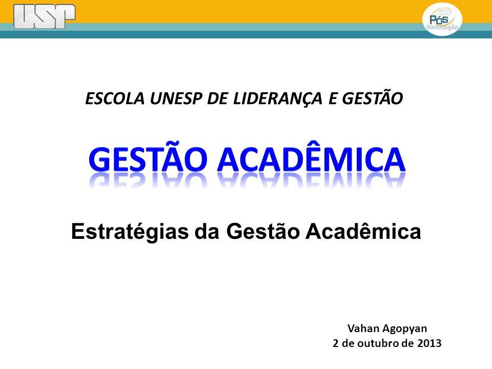 Vahan Agopyan 2 de outubro de 2013 Estratégias da Gestão Acadêmica ESCOLA UNESP DE LIDERANÇA E GESTÃO