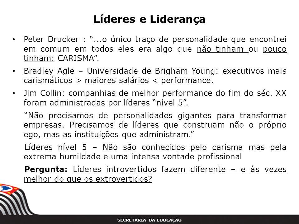 SECRETARIA DA EDUCAÇÃO Líderes e Liderança Peter Drucker :...o único traço de personalidade que encontrei em comum em todos eles era algo que não tinh