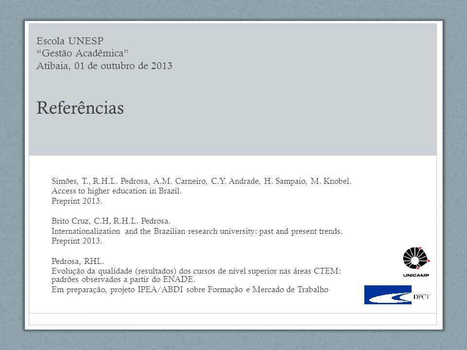 Escola UNESP Gestão Acadêmica Atibaia, 01 de outubro de 2013 Referências Simões, T., R.H.L.