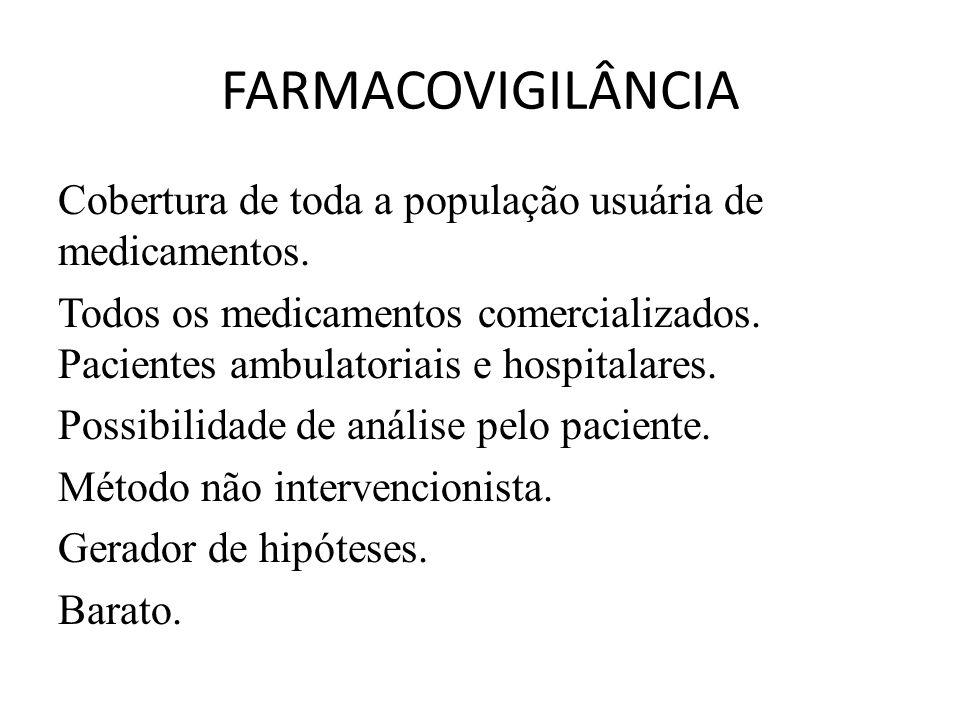 FARMACOVIGILÂNCIA Cobertura de toda a população usuária de medicamentos. Todos os medicamentos comercializados. Pacientes ambulatoriais e hospitalares