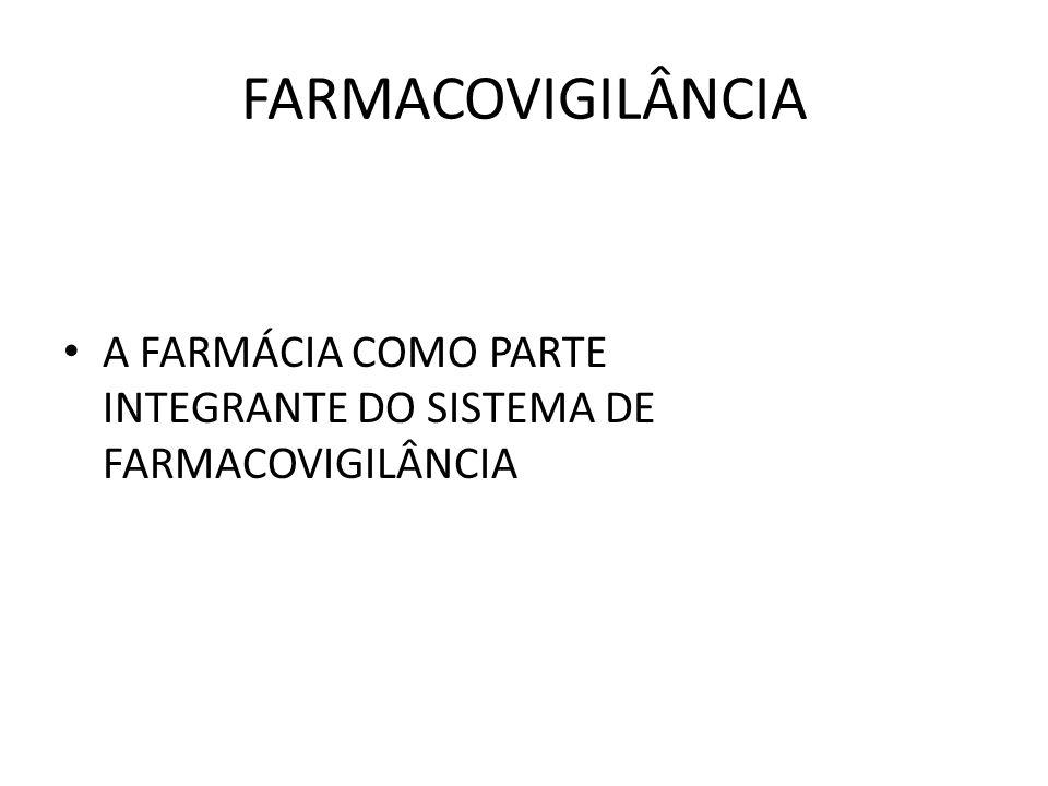 FARMACOVIGILÂNCIA A FARMÁCIA COMO PARTE INTEGRANTE DO SISTEMA DE FARMACOVIGILÂNCIA
