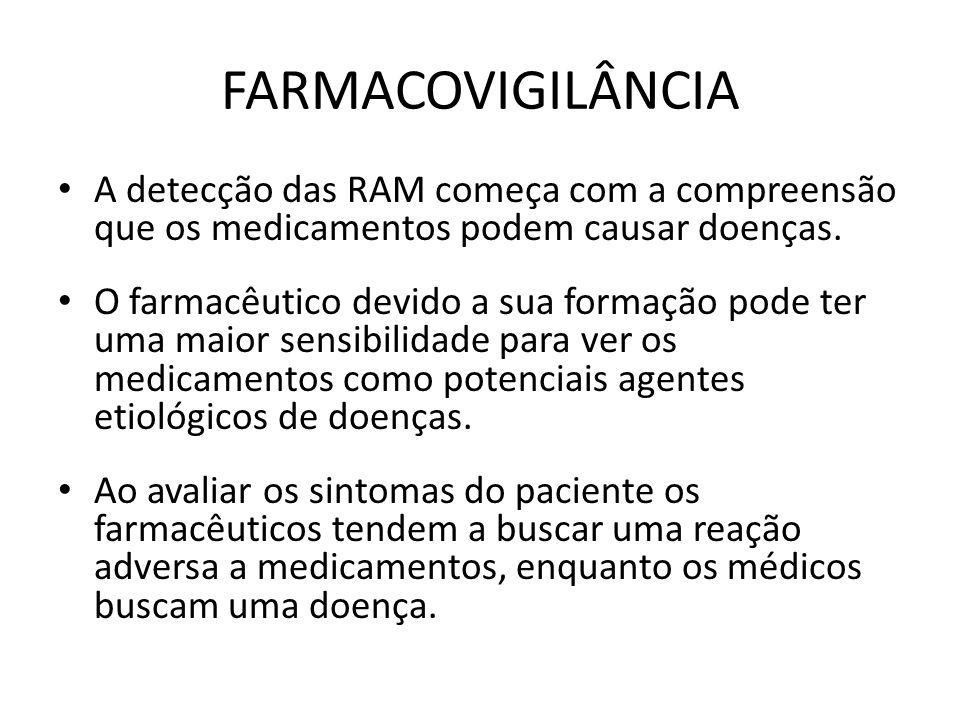 FARMACOVIGILÂNCIA A detecção das RAM começa com a compreensão que os medicamentos podem causar doenças. O farmacêutico devido a sua formação pode ter