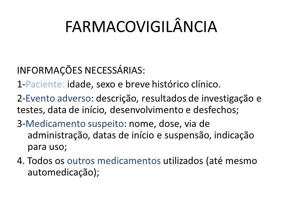 FARMACOVIGILÂNCIA INFORMAÇÕES NECESSÁRIAS: 1-Paciente: idade, sexo e breve histórico clínico. 2-Evento adverso: descrição, resultados de investigação