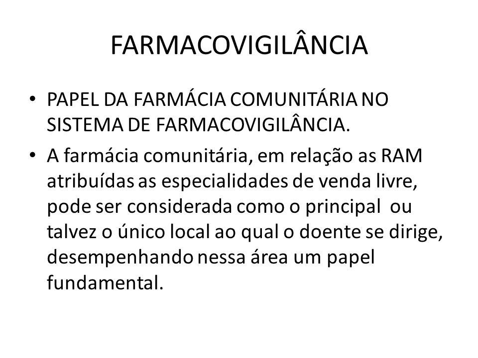 FARMACOVIGILÂNCIA PAPEL DA FARMÁCIA COMUNITÁRIA NO SISTEMA DE FARMACOVIGILÂNCIA. A farmácia comunitária, em relação as RAM atribuídas as especialidade