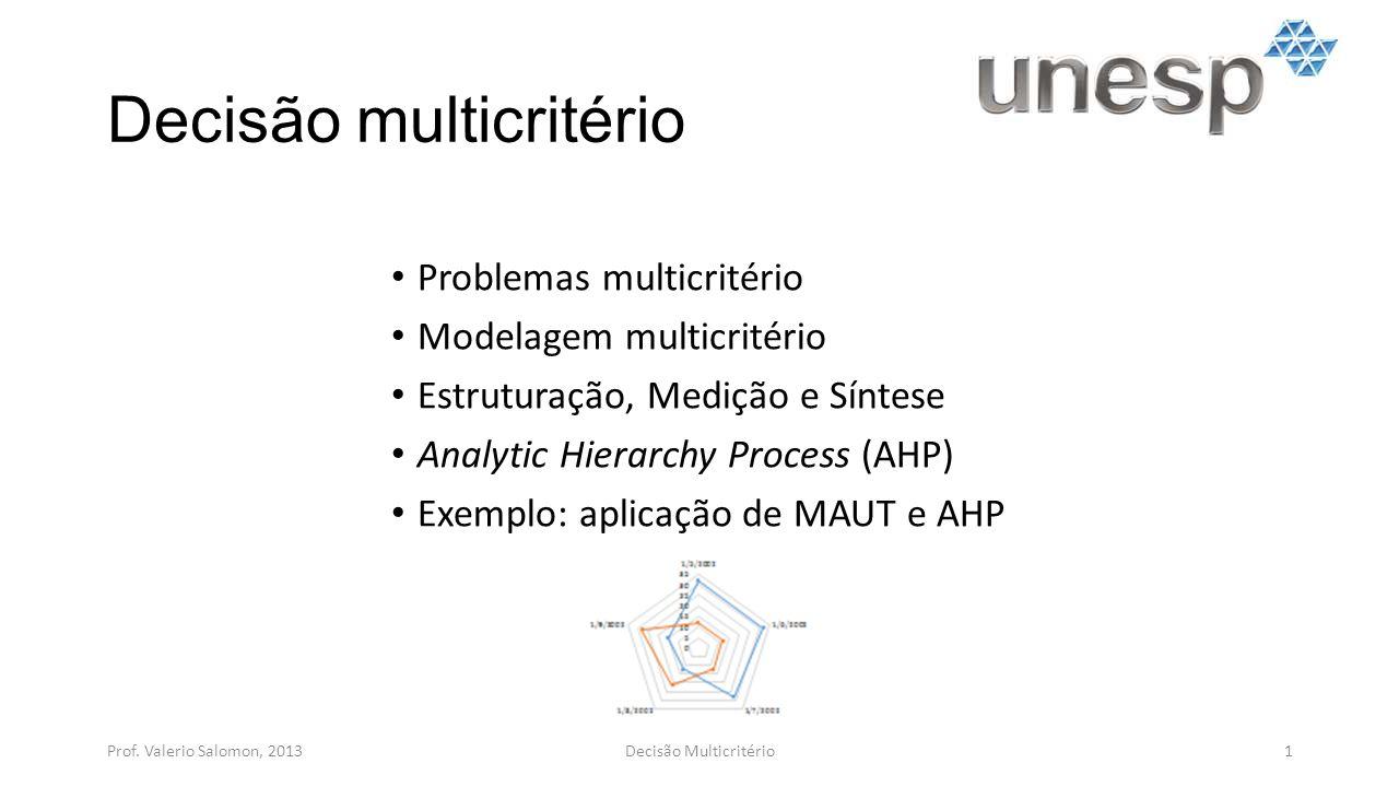 Decisão multicritério Problemas multicritério Modelagem multicritério Estruturação, Medição e Síntese Analytic Hierarchy Process (AHP) Exemplo: aplica