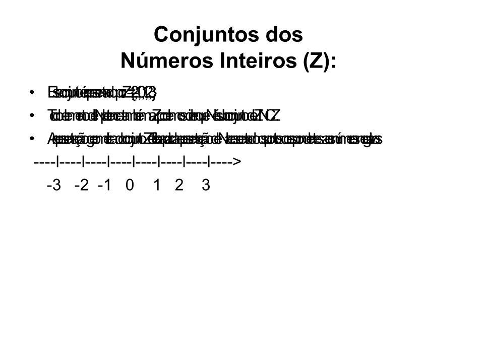 Subconjuntos importantes: Conjunto dos númerosinteiros não nulos: Z* = {...,-3,-2,-1,1,2,3,...} ; Z* = Z – {0} Conjunto dos números inteiros não negativos: Z+ = {0,1,2,3,...} ; Z+ = N Conjunto dos números inteiros positivos: Z* + = {1,2,3,4,...} Conjunto dos números inteiros não positivos: Z- = {...,-3,-2,-1,0} Conjunto dos números inteiros negativos: Z* - = {...,-5,-4,-3,-2,-1}