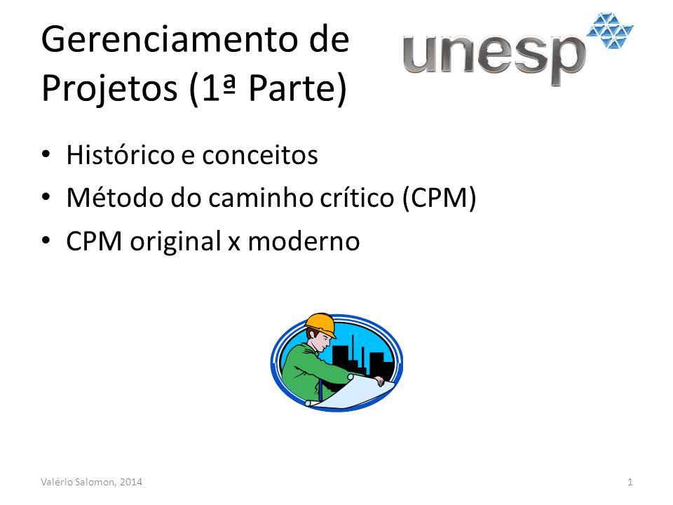 Gerenciamento de Projetos (1ª Parte) Histórico e conceitos Método do caminho crítico (CPM) CPM original x moderno Valério Salomon, 20141