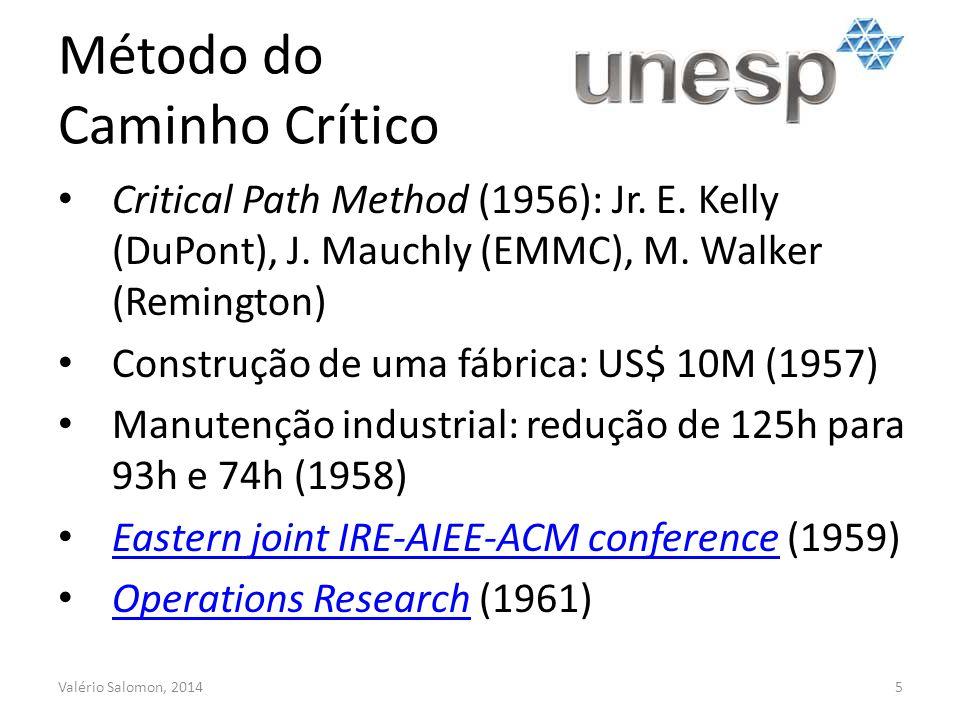 Método do Caminho Crítico Valério Salomon, 20145 Critical Path Method (1956): Jr.