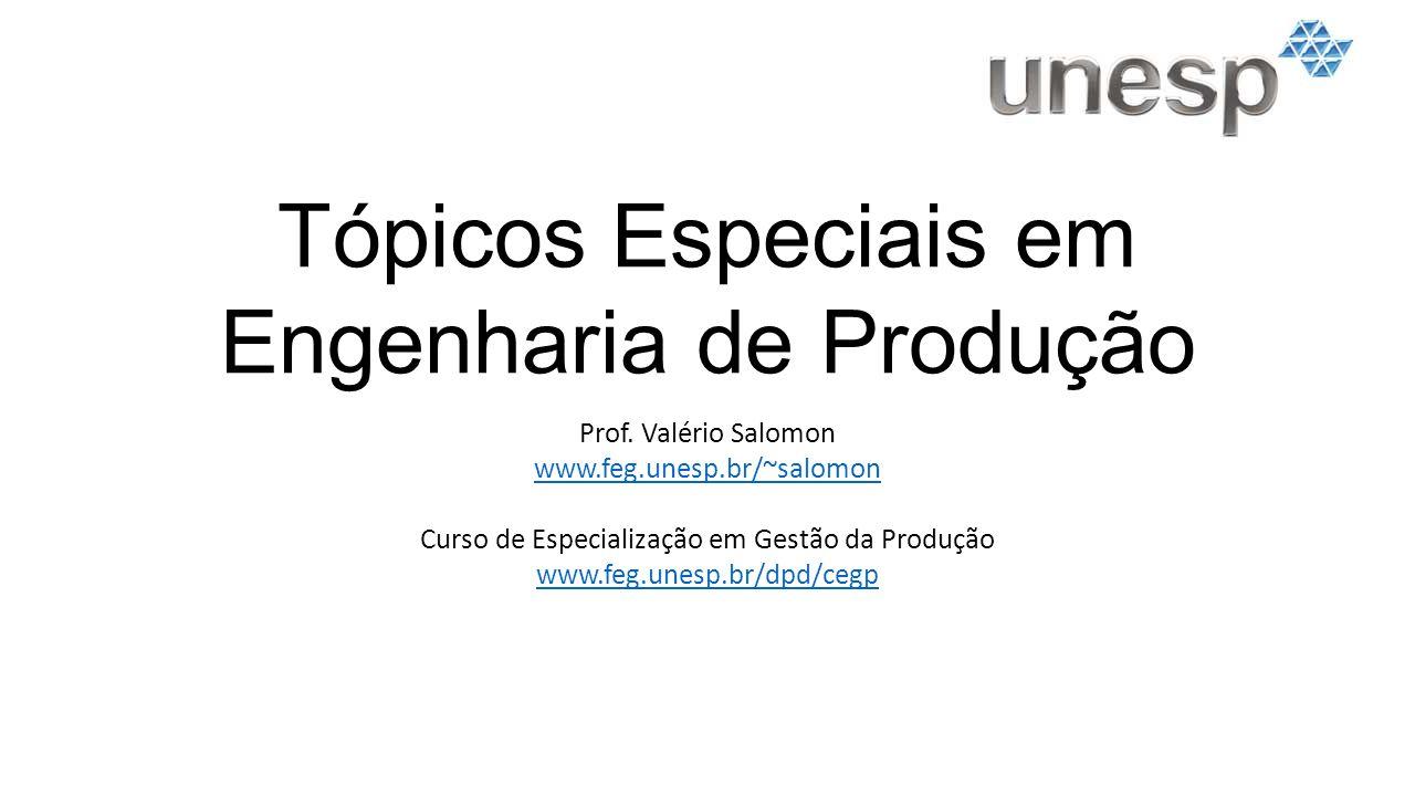 Tópicos Especiais em Engenharia de Produção Prof.
