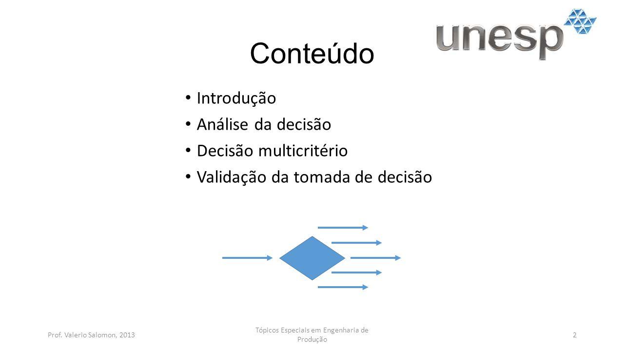 Conteúdo Introdução Análise da decisão Decisão multicritério Validação da tomada de decisão Prof.