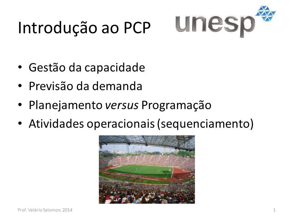 Introdução ao PCP Gestão da capacidade Previsão da demanda Planejamento versus Programação Atividades operacionais (sequenciamento) Prof. Valério Salo