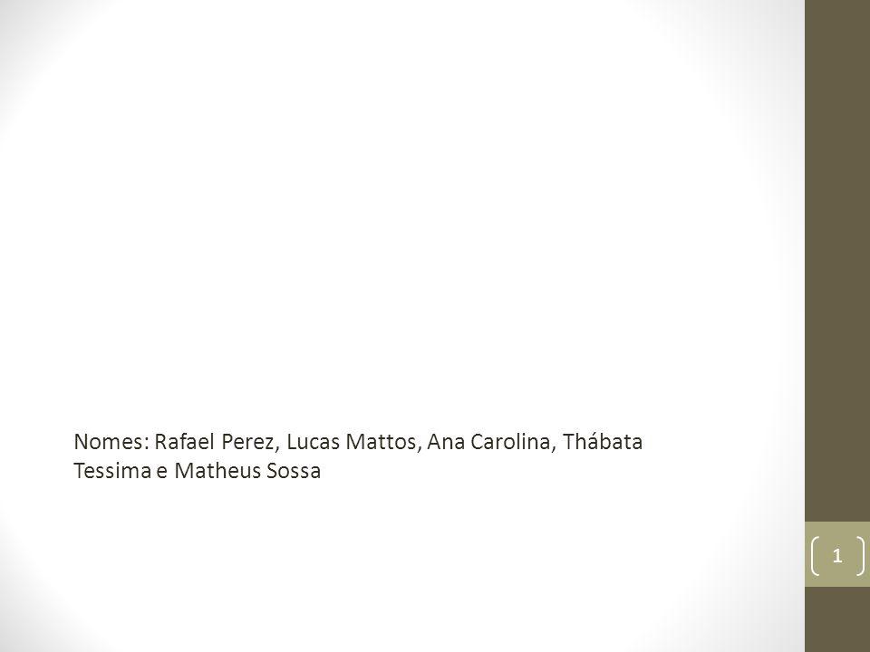 Nomes: Rafael Perez, Lucas Mattos, Ana Carolina, Thábata Tessima e Matheus Sossa 1