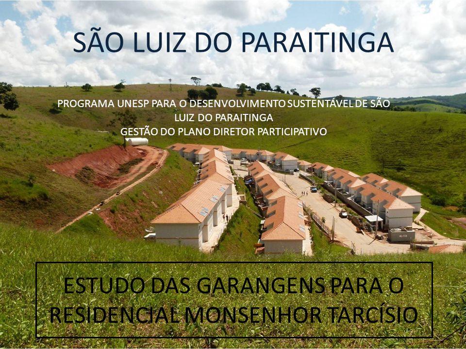 ESTUDO DAS GARANGENS PARA O RESIDENCIAL MONSENHOR TARCÍSIO PROGRAMA UNESP PARA O DESENVOLVIMENTO SUSTENTÁVEL DE SÃO LUIZ DO PARAITINGA GESTÃO DO PLANO DIRETOR PARTICIPATIVO SÃO LUIZ DO PARAITINGA