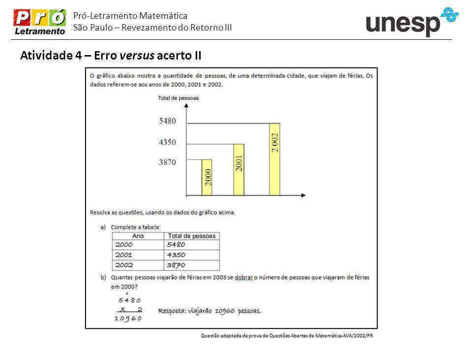 Pró-Letramento Matemática São Paulo – Revezamento do Retorno III Atividade 4 – Erro versus acerto II