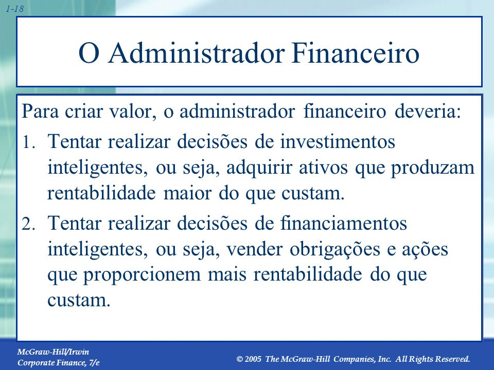 McGraw-Hill/Irwin Corporate Finance, 7/e © 2005 The McGraw-Hill Companies, Inc. All Rights Reserved. 1-18 O Administrador Financeiro Para criar valor,