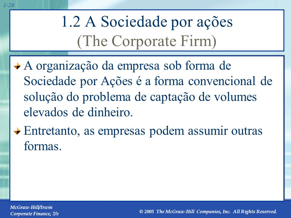 McGraw-Hill/Irwin Corporate Finance, 7/e © 2005 The McGraw-Hill Companies, Inc. All Rights Reserved. 1-20 1.2 A Sociedade por ações (The Corporate Fir