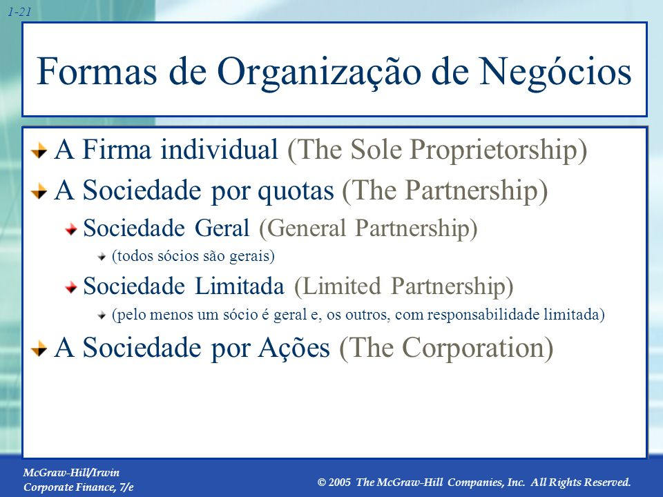 McGraw-Hill/Irwin Corporate Finance, 7/e © 2005 The McGraw-Hill Companies, Inc. All Rights Reserved. 1-21 Formas de Organização de Negócios A Firma in