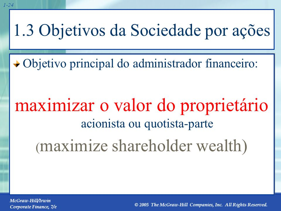 McGraw-Hill/Irwin Corporate Finance, 7/e © 2005 The McGraw-Hill Companies, Inc. All Rights Reserved. 1-24 1.3 Objetivos da Sociedade por ações Objetiv