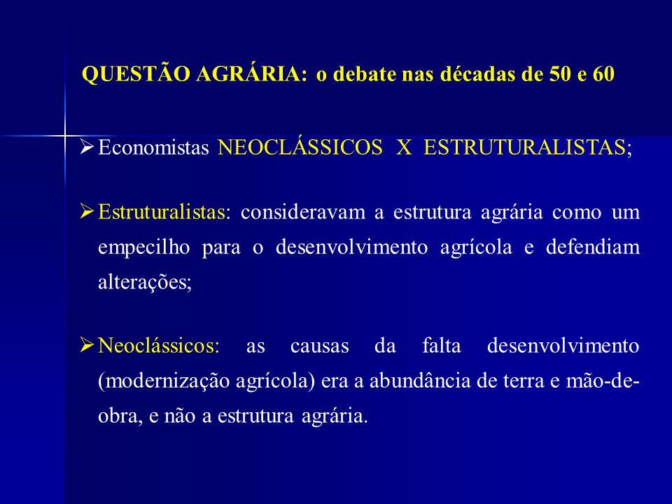 QUESTÃO AGRÁRIA: o debate nas décadas de 50 e 60 Economistas NEOCLÁSSICOS X ESTRUTURALISTAS; Estruturalistas: consideravam a estrutura agrária como um