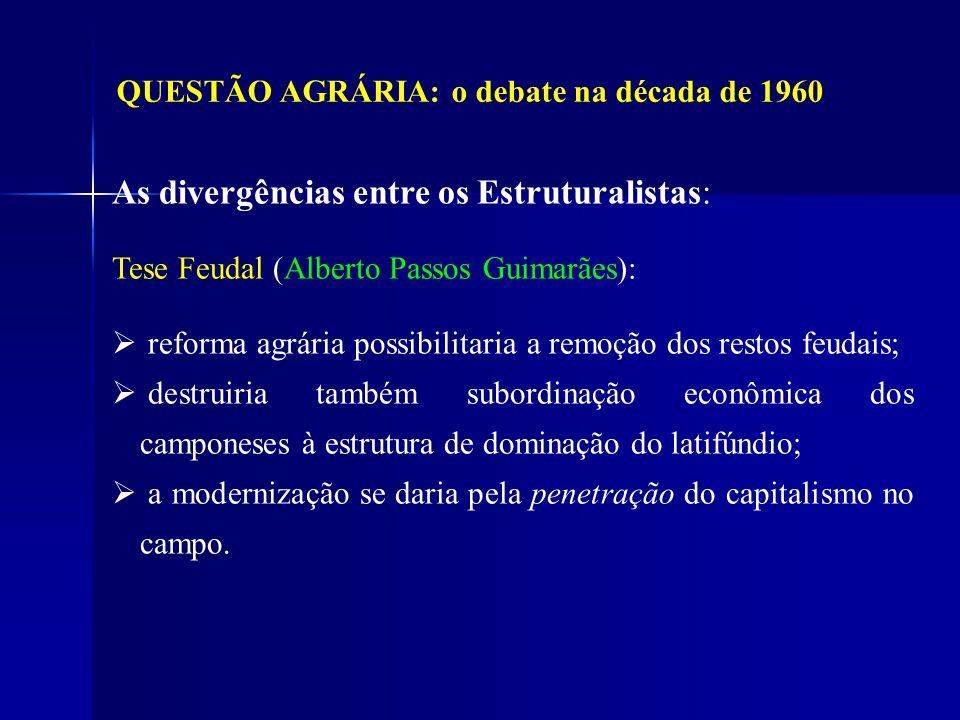 QUESTÃO AGRÁRIA: o debate na década de 1960 As divergências entre os Estruturalistas: Tese Feudal (Alberto Passos Guimarães): reforma agrária possibil