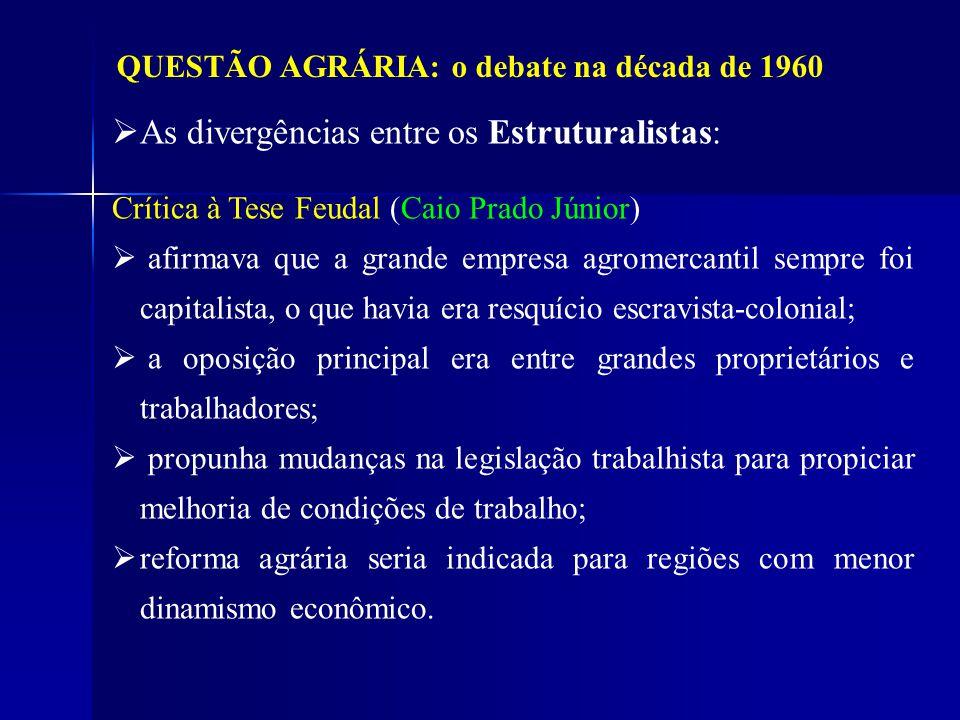 QUESTÃO AGRÁRIA: o debate na década de 1960 As divergências entre os Estruturalistas: Crítica à Tese Feudal (Caio Prado Júnior) afirmava que a grande