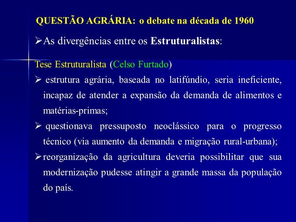 QUESTÃO AGRÁRIA: o debate na década de 1960 As divergências entre os Estruturalistas: Tese Estruturalista (Celso Furtado) estrutura agrária, baseada n